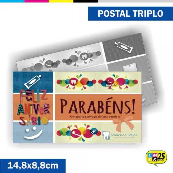 Detalhes do produto Postal Triplo - 4x1 Cores - Verniz Total Frente