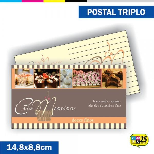 Detalhes do produto Postal Triplo - 4x4 Cores - Laminação Fosca - Verniz Localizado