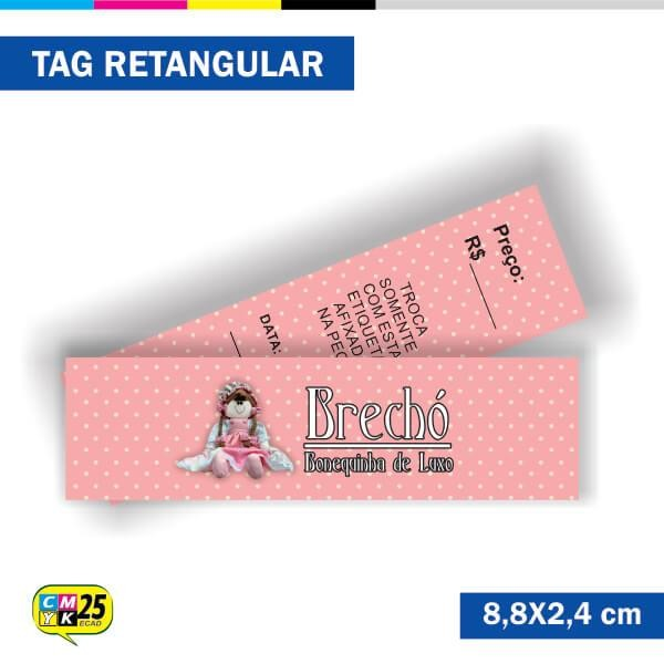 Detalhes do produto Tag 4x4 - Retangular - 2000 Unid. - 8,8x2,4cm + Furo 5mm