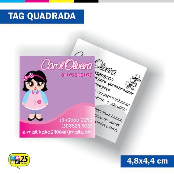 Detalhes do produto Tag 4x1 - Quadrada - 2000 Unid. - 4,8x4,4cm + Furo 5mm