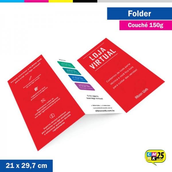 Detalhes do produto Folder A4 - Couché 150g - 4x4 Cores - 50 Unid.