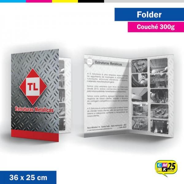 Detalhes do produto Folder 2 Bandeiras - 36x25cm - Couché 300g - 4x1 Cores - 1.000 Unid.
