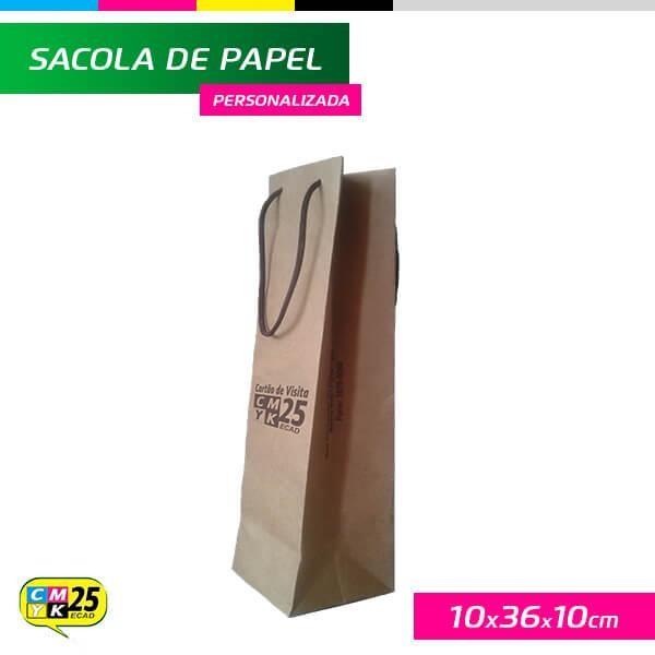 Detalhes do produto Sacola para Garrafa - Papel Kraft 135g - 10x36x10cm - 2 Cores Pantone