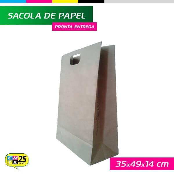 Detalhes do produto Sacola de Papel Kraft - 35x49x14cm - 10 Unid