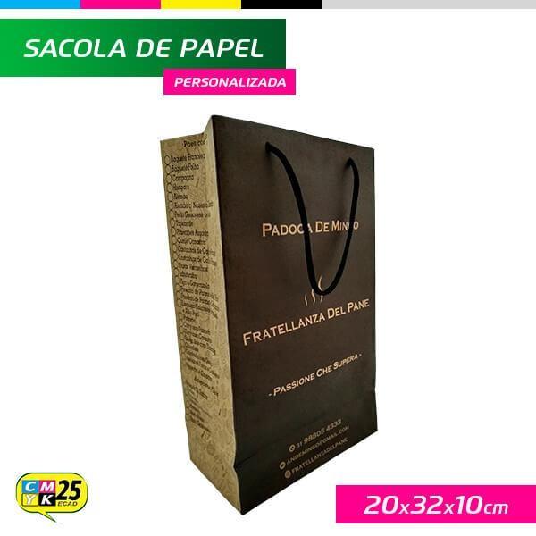 Detalhes do produto Sacola de Papel Kraft Personalizada - 20x32x10cm - 3 Cores Pantone
