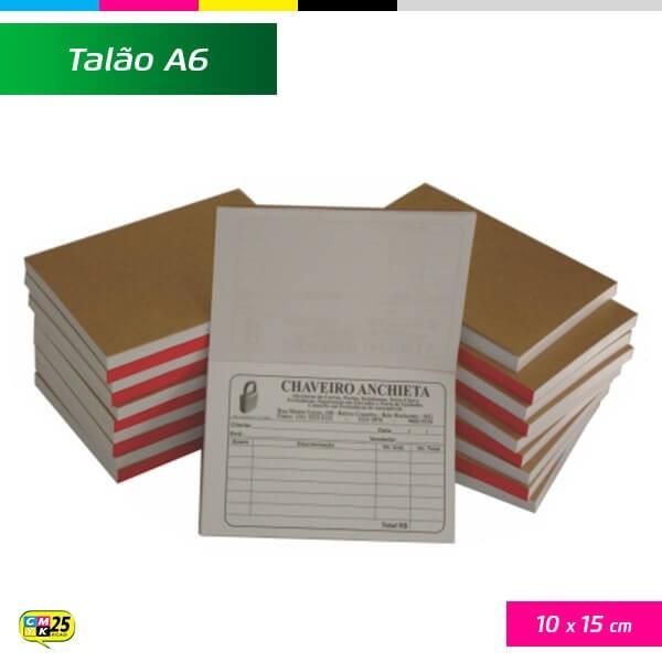 Detalhes do produto Talão A6 - 10x15cm - 20 Blocos 50x2 Vias - Impressão 2 Cores