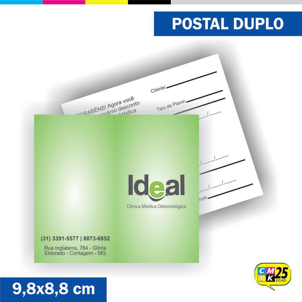 Postal Duplo - 4x1 Cores - Verniz Total Frente
