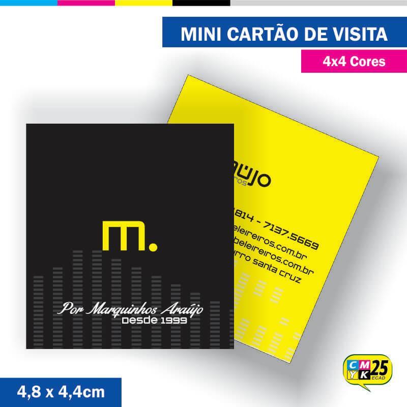 Mini Cartão de Visita - 4x4 cores - 4,8x4,4cm - Laminação Fosca - Verniz Localizado
