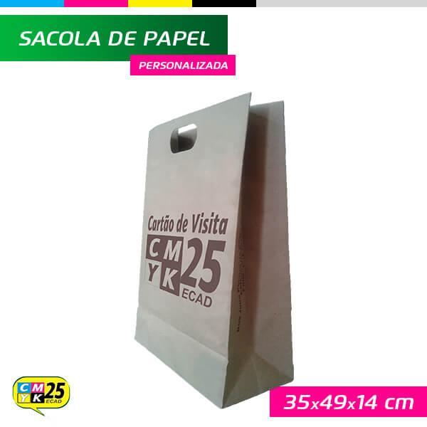 Sacola de Papel Kraft Personalizada - 35x49x14cm - 1.000 Unid.