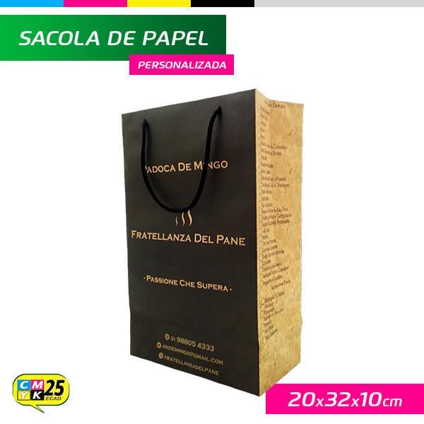 Sacola de Papel Kraft Personalizada - 20x32x10cm - 1.000 Unid.
