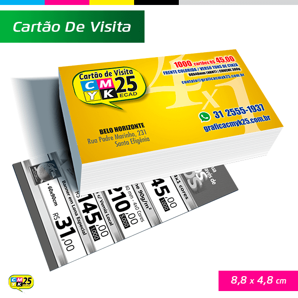 Cartão de Visita - 4x1 - 1000 Unid. + Arte Final