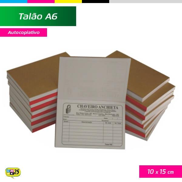 Talão A6 - 10x15cm - 20 Blocos 50x2 Vias - Impressão 2 Cores - Autocopiativo
