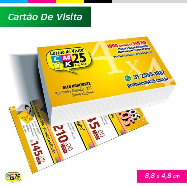 Cartão de Visita Verniz Localizado - 4X4 - 1000 Unid.