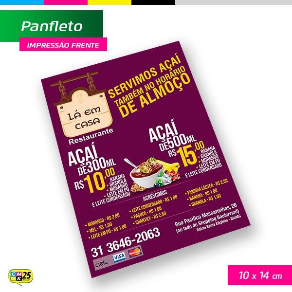 Panfleto A6 - 4x0 - 10X14cm - 2.500 Unid.